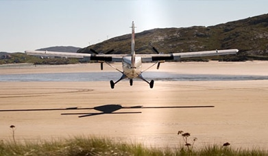 Barra Airport, Plane Lands at Barra, Runway on the beach, Highland and Island Airports