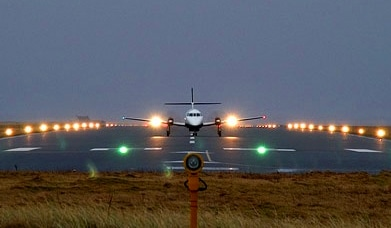 Plane Takes off from Benbecula Airport, Apron Dundee, Highland and Island Airports