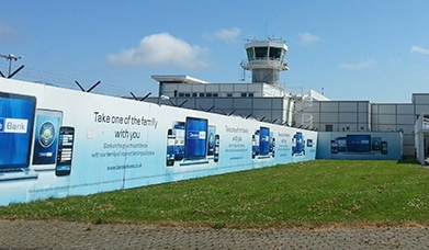 Danske Bank, Large outdoor fence branding, terminal front branding, City of Derry Airport Advertising