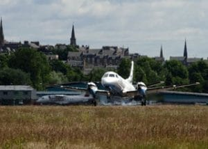 Plane Takes off from Dundee Airport, Apron Dundee, Highland and Island Airports