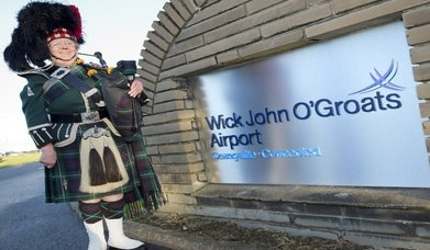 Wick John O'Groats Airport, Highland and Island Airports, Man in Kilt, Bagpipes