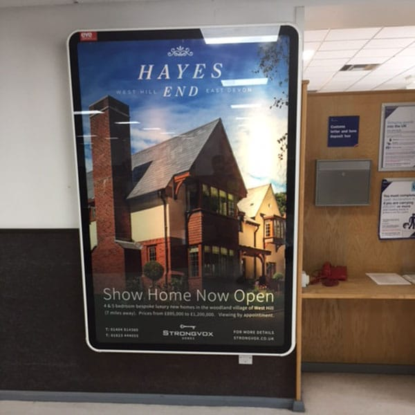 Strongvox, Hays End, Exeter Airport Advertising, Illuminated 6 Sheet, All Departures