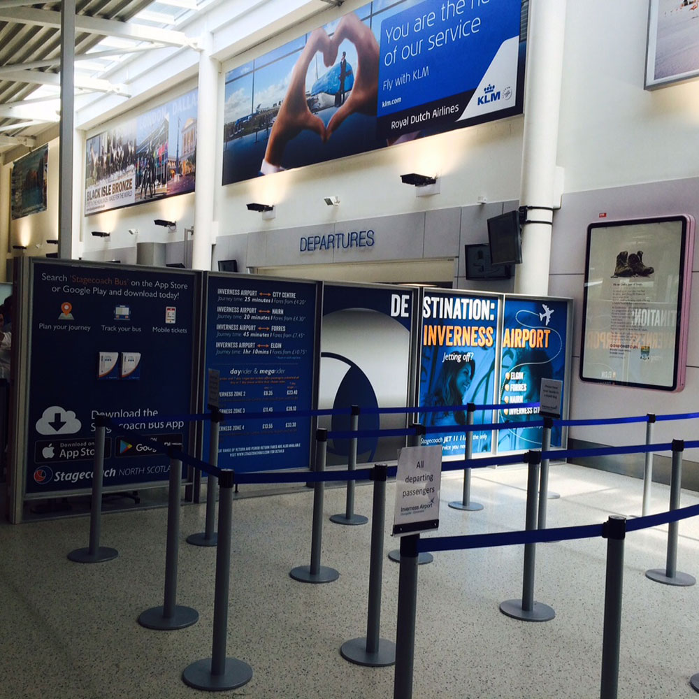 Stagecoach, Security Search panel wraps, Bespoke Advertising, Inverness Airport Advertising