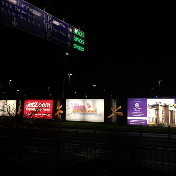 Illuminated 48 sheets, Newcastle Airport Advertising External Road