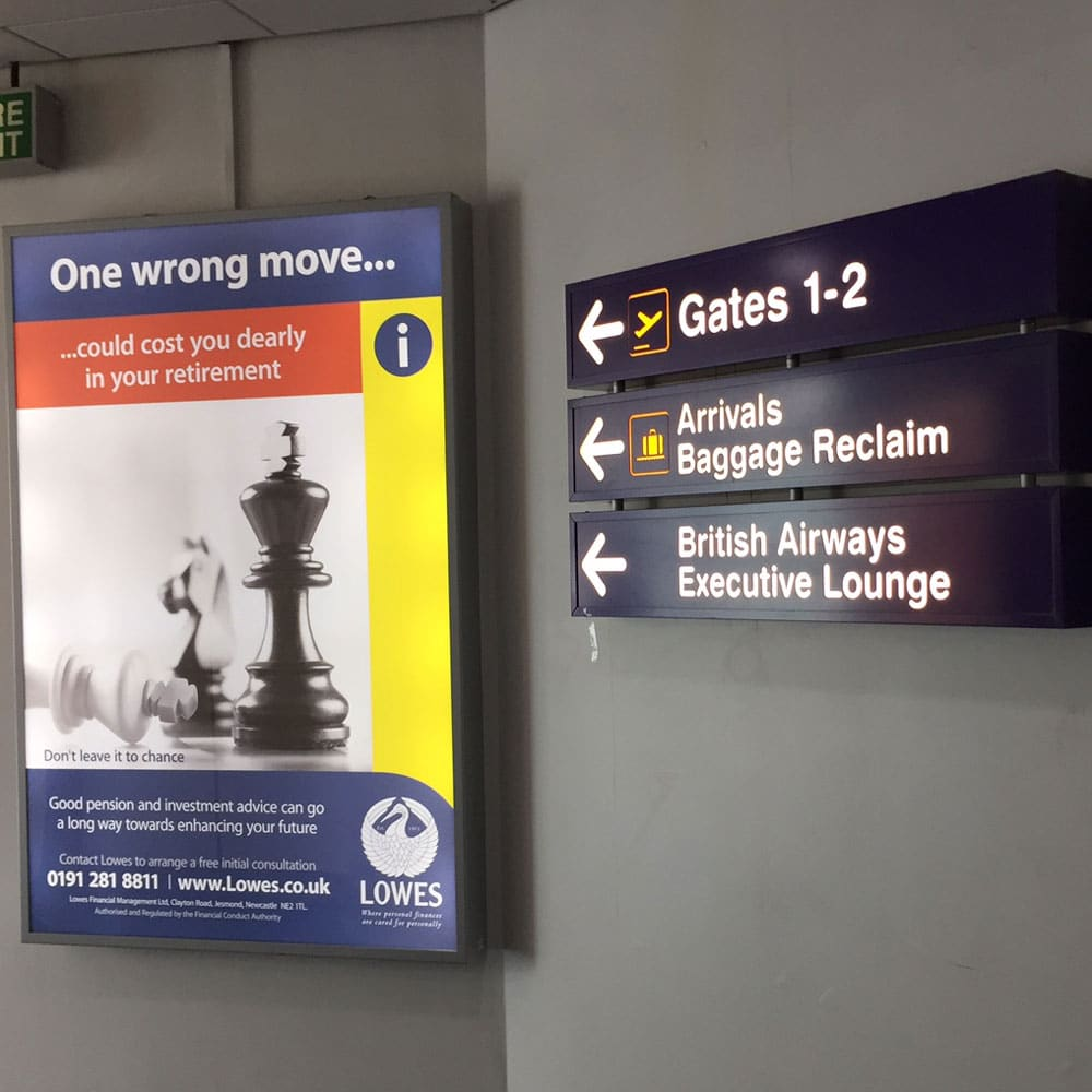 6 sheet, Lowes, Newcastle Airport Advertising, Domestic Arrivals and Departures Pier