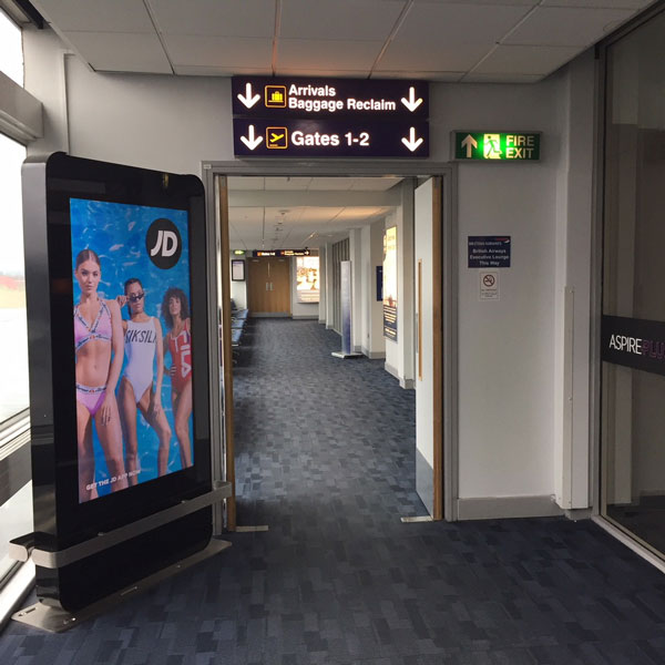 Newcastle Airport Advertising, Domestic Arrivals and Departures Pier, JD Sports, D6 Digital Screen, Animated Digital Advertising