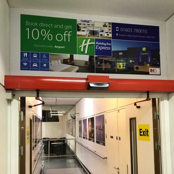 Holiday Inn, All Arrivals Exit, Norwich Airport, Foamex Advertising Panel