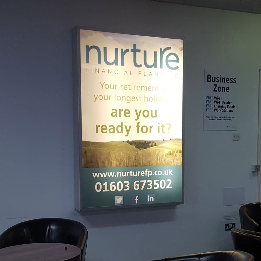 Nurture Financial Planning, 6 Sheet Lightbox, Norwich Airport, Departure Lounge
