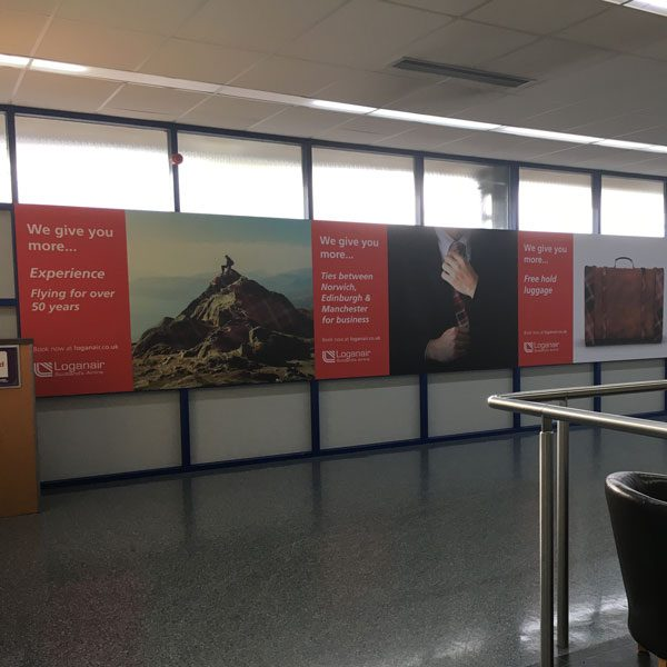 KLM, Norwich Airport Advertising, Airport Entrance, Large Outdoor Advertising Panel