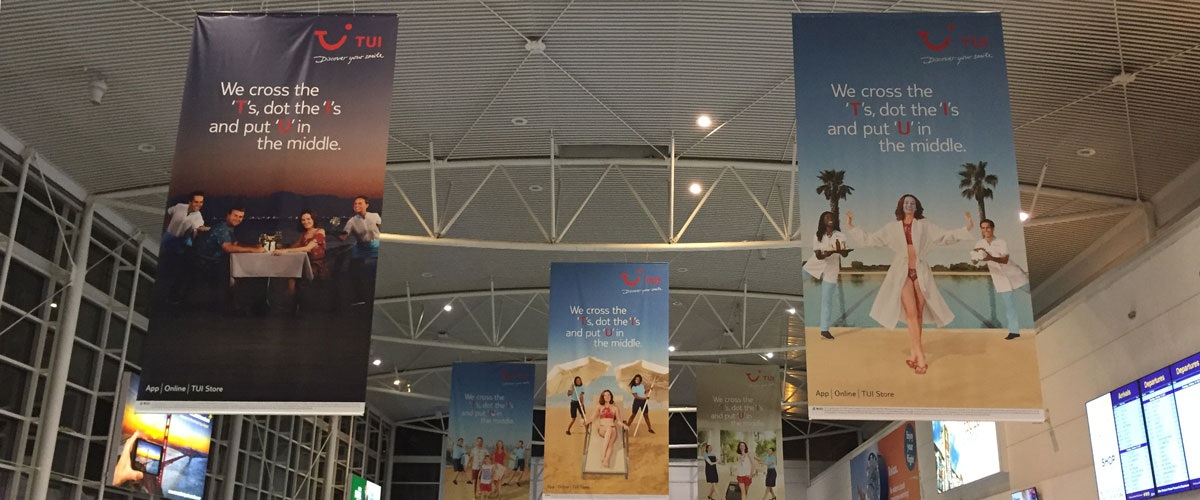 Large Hanging Banners, Newcastle International Airport, Check In, TUI, Newcastle International Arrivals