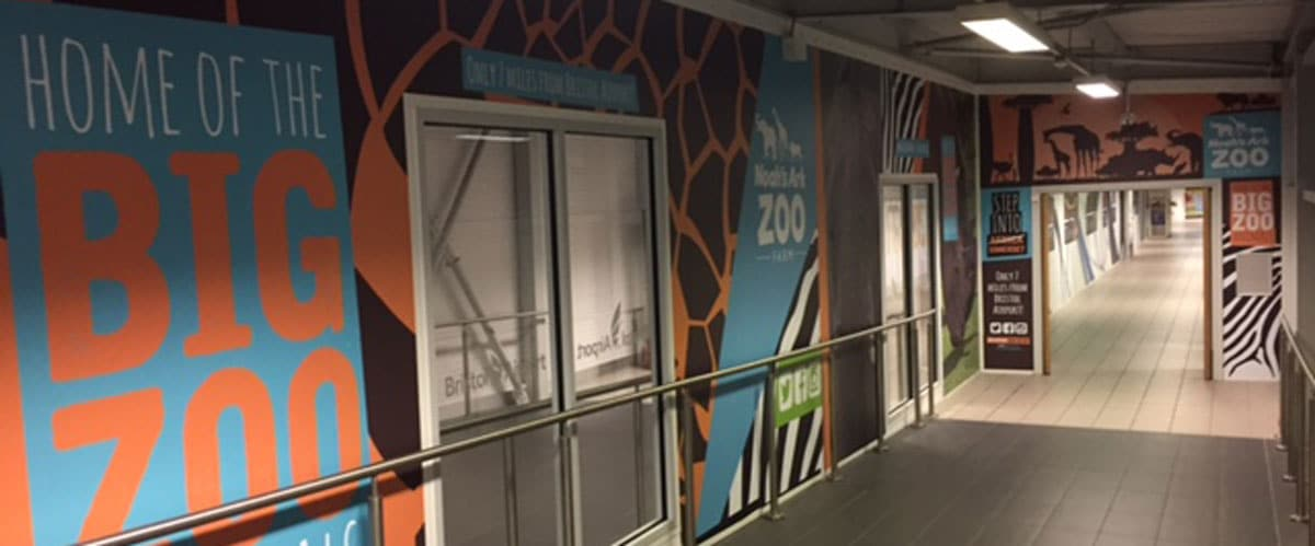 Bristol International Airport, Noah's Ark Zoo Farm, Wall Wrap, Bristol Airport Arrivals Corridor