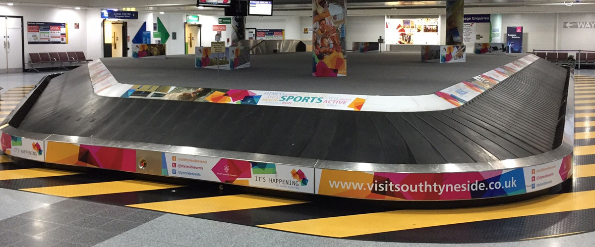 Newcastle International Airport, International Arrivals Hall, Visit South Tyneside, Carousel Wrap