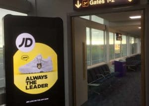 JD Sports Advertising at Newcastle Airport, in Partnership with Eye Airports