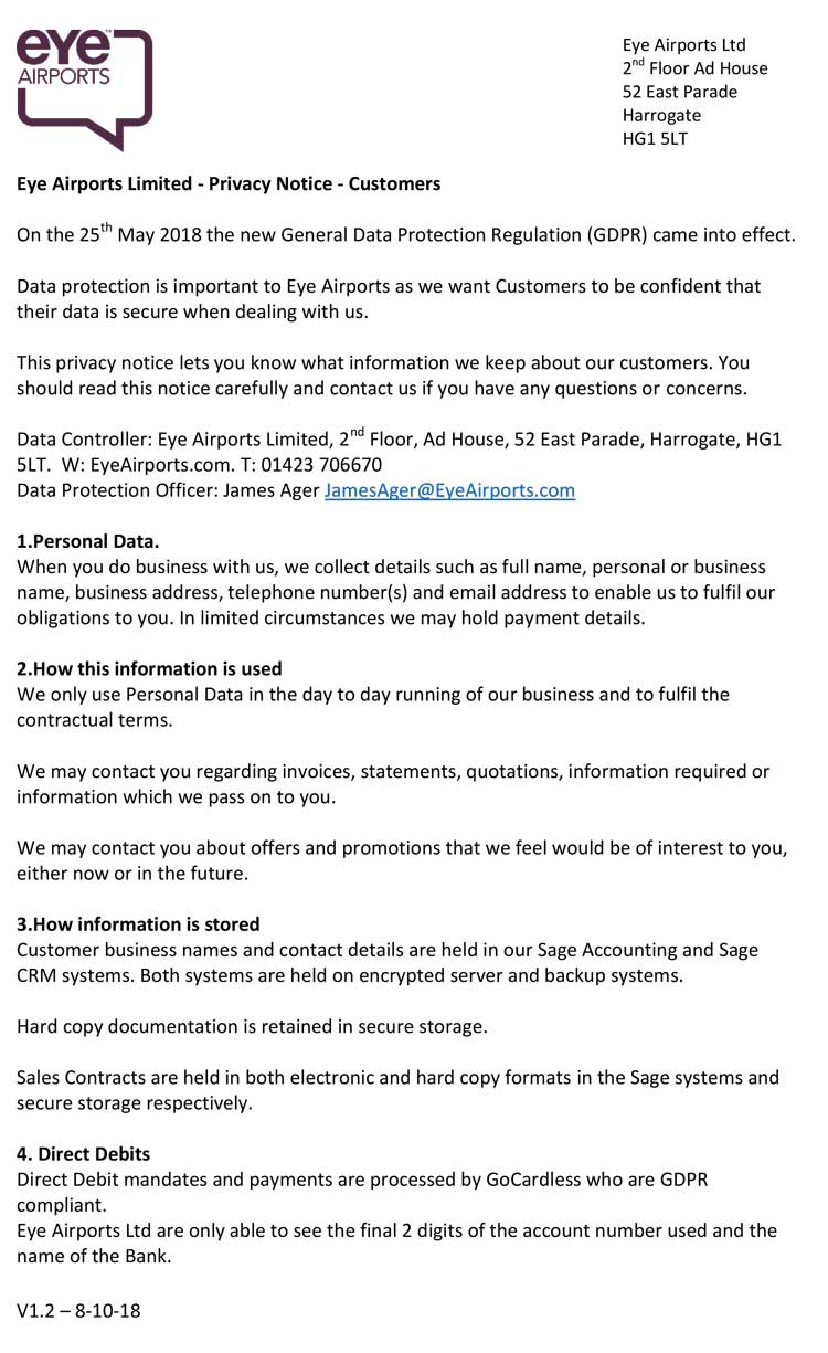 Eye Airports Privacy Policy - Customers