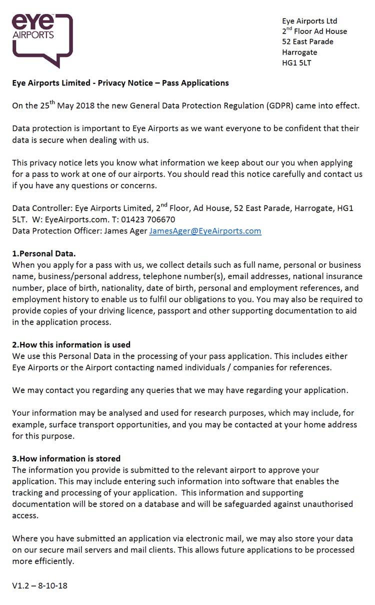Eye Airports Privacy Policy - Pass Applications