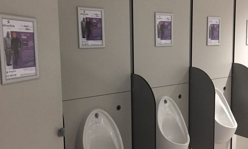 Silverlink Clinics, Washroom Advertising, Newcastle International Airport, International Arrivals, Departure Lounge